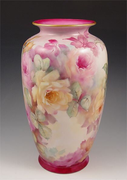 ROSE PAINTED FINE PORCELAIN VASE: Hand painted and signed by S. Wilson
