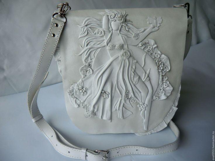 Купить Сумка белая из кожи с декором - сумка ручной работы, натуральная кожа…