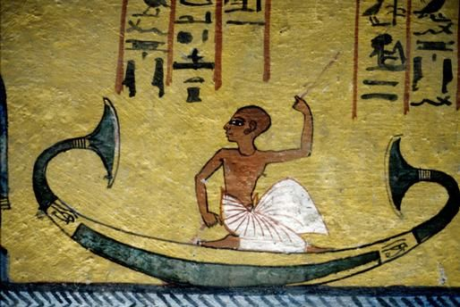 Rahotep in the papyrus boat   Mural from the tomb of Sennedjem, Deir el-Medina (TT 1), Western Thebes (Egypt)   Egyptian Art, New Kingdom, 19th Dynasty, reign of Seti I, Ramses II, c. 1290 BC.