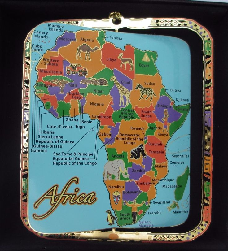 Map of Africa Brass Ornament Black Leatherette