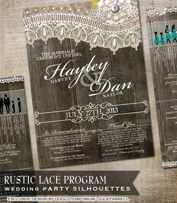 Programa de boda rústica con siluetas de fiesta por OddLotPaperie