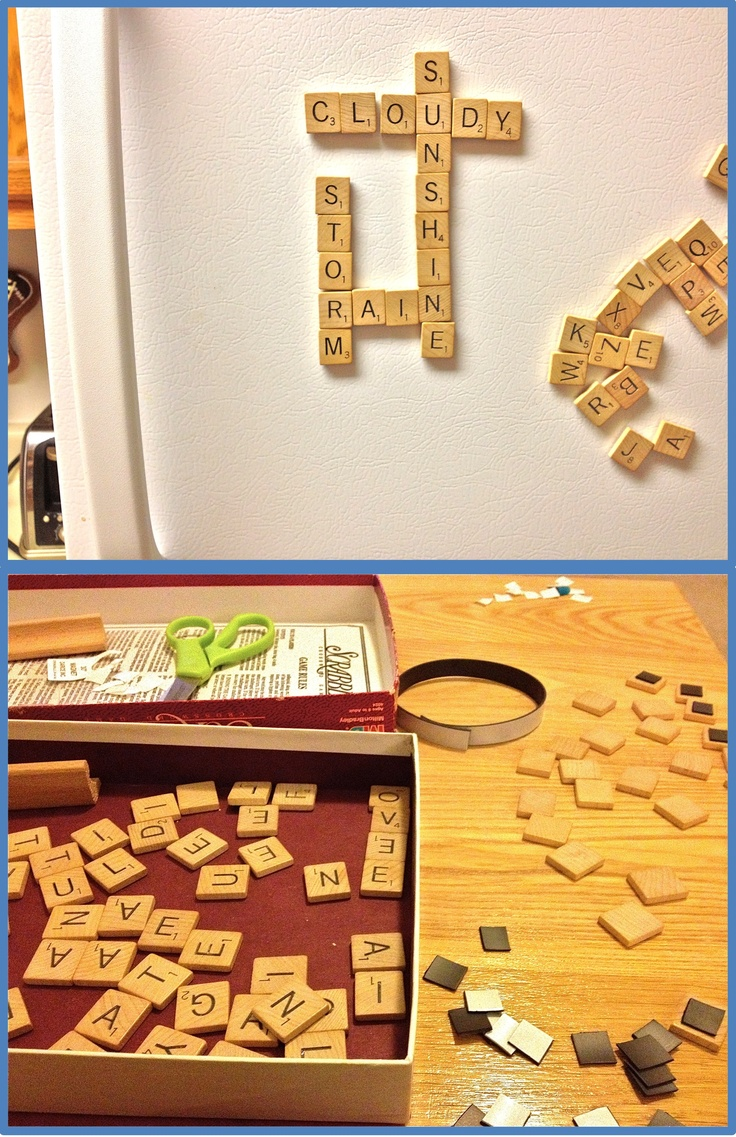 DIY scrabble fridge magnets! So easy!    All you need is an old scrabble game (I got mine at goodwill for 3$) and a self-adhesive magnetic strip (75 cents at Joann Fabrics).     Cut, peel, stick, have fun :)