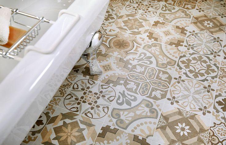 Bohemian beiges decorative bathroom floor #tiles