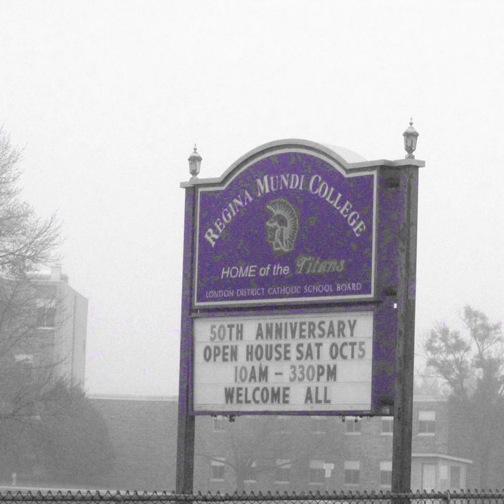 RMC Regina Mundi College school sign announcing the 50th Anniversary open house 2013