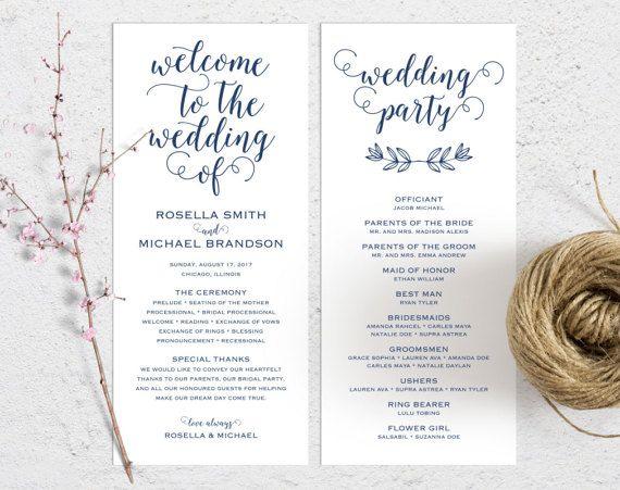 Best  Program Template Ideas On   Wedding Program