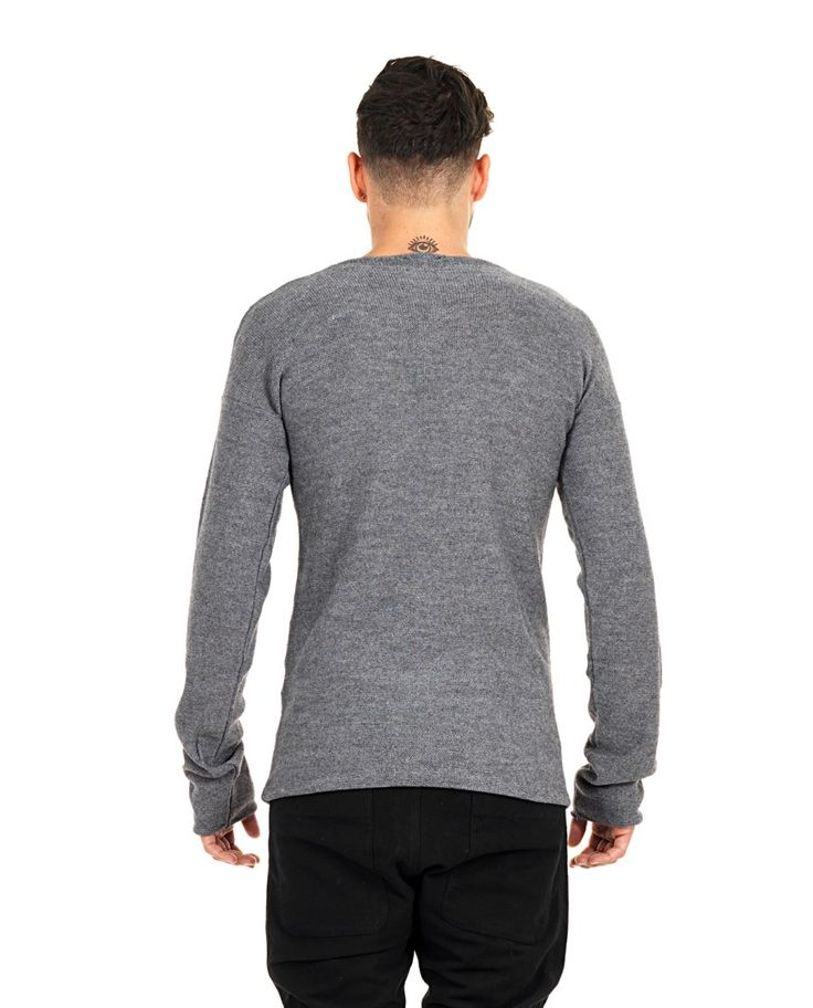 LOST&FOUND MAN Lost&Found Rooms light grey sweater round neckline long sleeves 50% WM 50% AC
