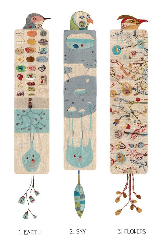 Illustrated bookmark nature inspiration birds and by ...