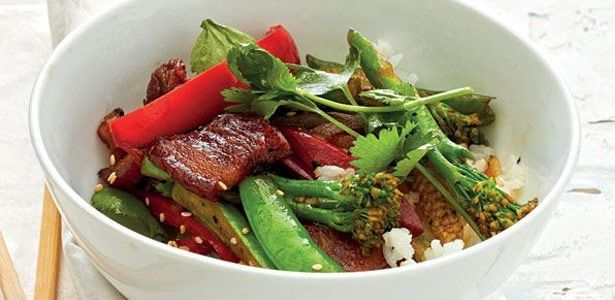 Stir-fry succulent pork rashers with sesame rice