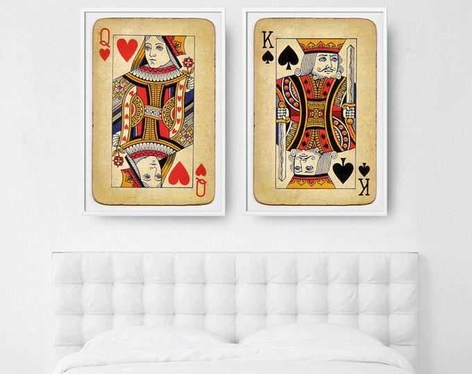 Amore di originale regalo di nozze, arredamento camera da letto, Set di 2 poster grande, re di picche e Regina di cuori, carte da gioco stampe, poster