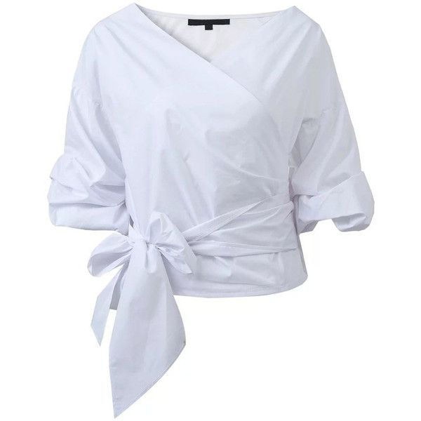 White Wrap V Neck Blouse With Bow Tie (£30) ❤ liked on Polyvore featuring tops, blouses, white v neck blouse, v neck wrap top, wrap tops, white wrap blouse and white blouses
