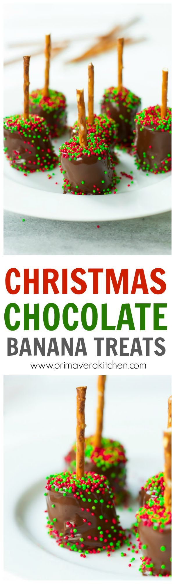 4-Ingredient Christmas Chocolate Banana Treats for the win!!! Seriously, if you want a super easy, quick, and delicious desert recipe for the Holidays, these banana chocolate treats are the perfect recipe for you. And they can be ready to go in less than 15 minutes! They are also gluten-free, vegan and paleo-friendly!