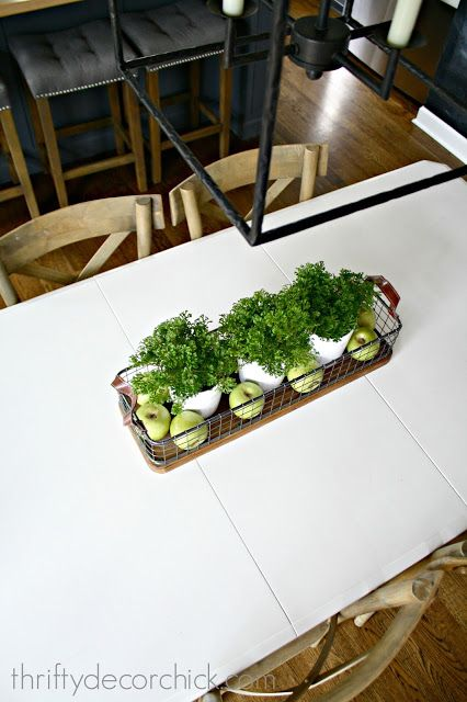 Our simple and pretty kitchen table centerpiece