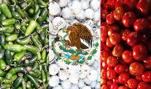 Chile, tomate y cebolla