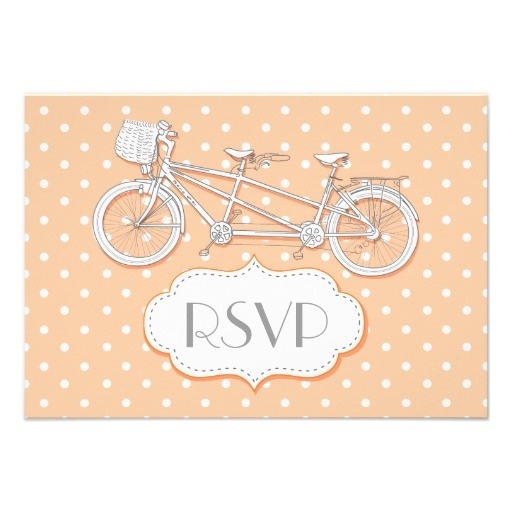 Tandem bicycle peach/coral polka dot wedding RSVP Personalized card, part of a wedding set.
