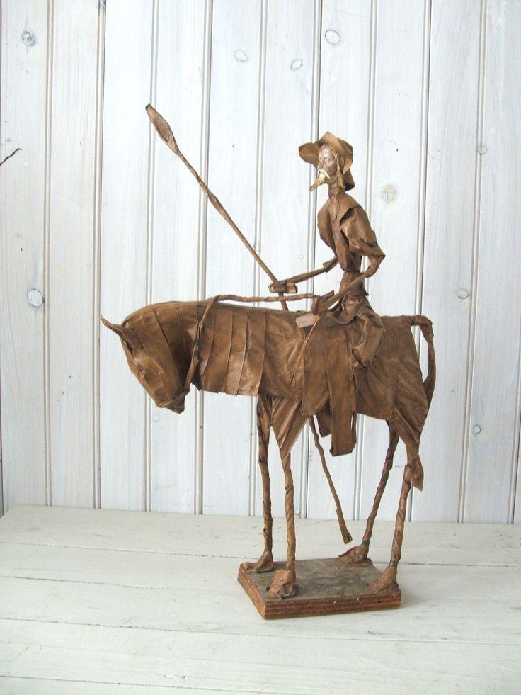 005 Vintage Paper Mache Don Quixote Mexican Folk Art Sculpture