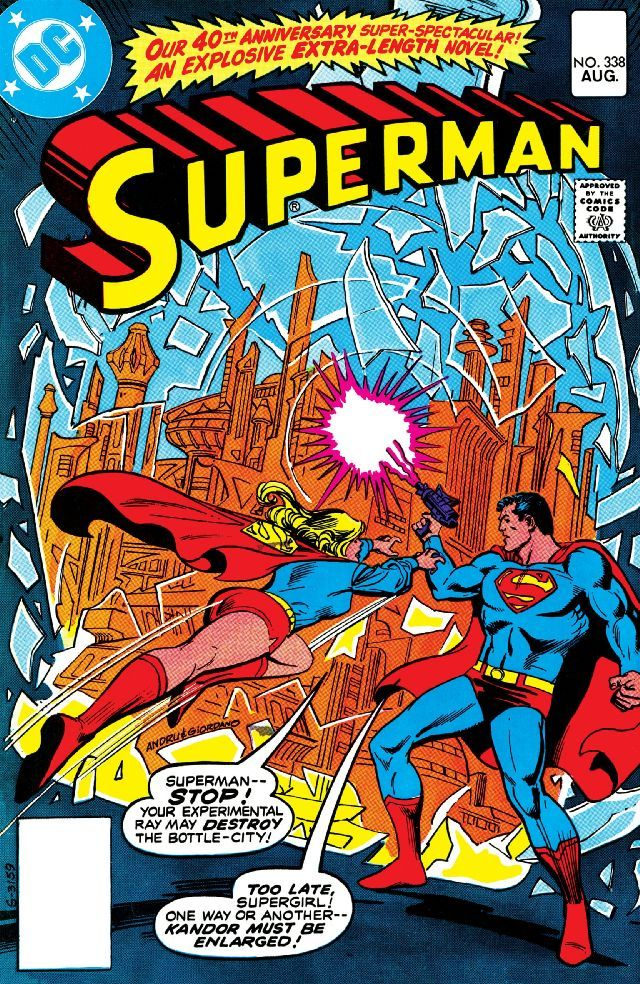 "Superman (1939-2011) #338 40th anniversary issue. ""Let My People Grow!"" Script by Len Wein, pencils by Curt Swan, inks by Frank Chiaramonte; Superman and Supergirl use the energy of a supernova to try and enlarge Kandor to its original size; Brainiac guest-stars."