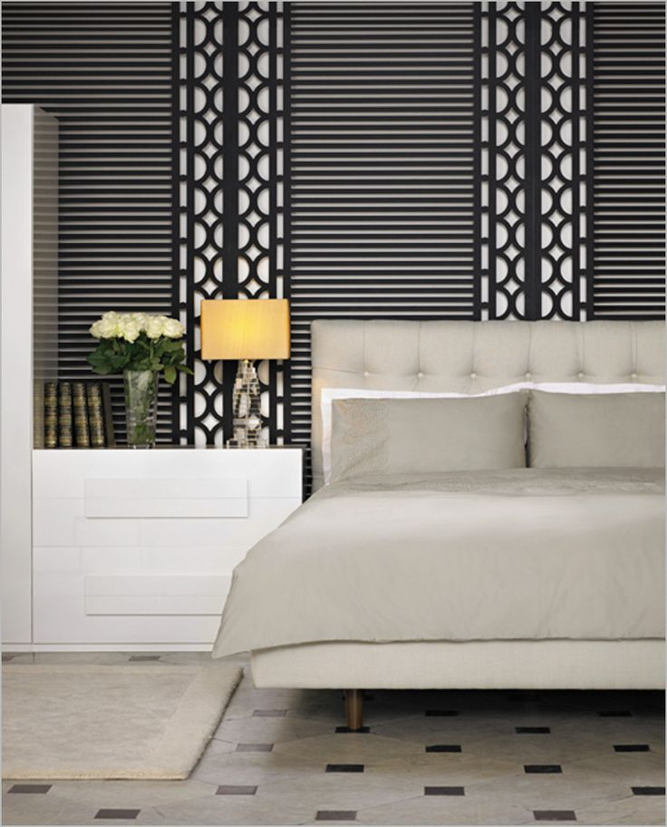 Bedroom , 30 Fascinating Hotel-Style Bedroom Design Ideas : Hotel Bedroom With Stand Out Patterns On Walls