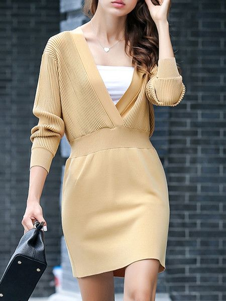 dress (sweater, textured-ribbed, plunge, spilling sleeve, fitted waist)