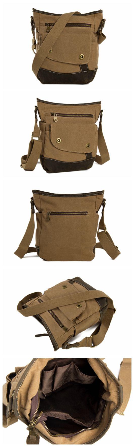 Stylish Canvas Leather Satchel Bag College Shoulder Bag, Waxed Canvas Messenger Bag