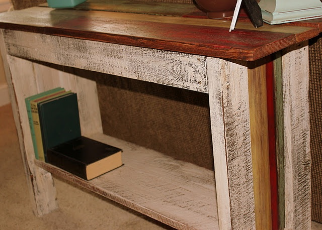 Love the table with the colored boards on the top, she also has pics of a great word wall display on rustic wood scraps.