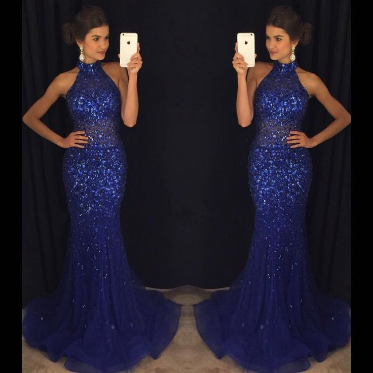 Prom Dresses,Beaded Crystals Prom Dresses,Prom Dresses Long,Mermaid Prom Dresses,Sexy Party Dresses,Halter Party Gowns,Royal Blue Long Evening Dresses,Sexy Formal Gowns