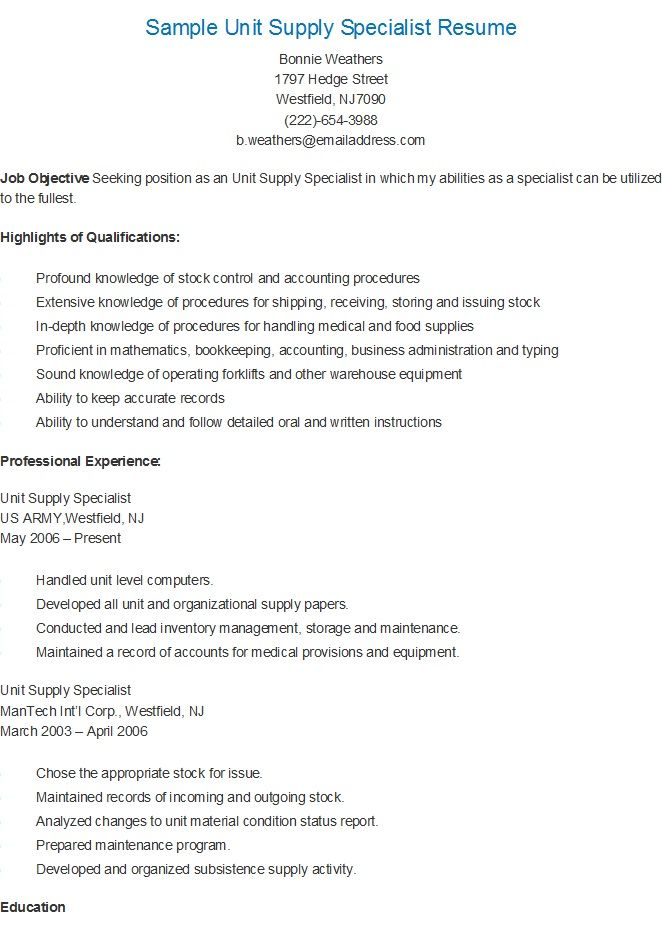 sample unit supply specialist resume