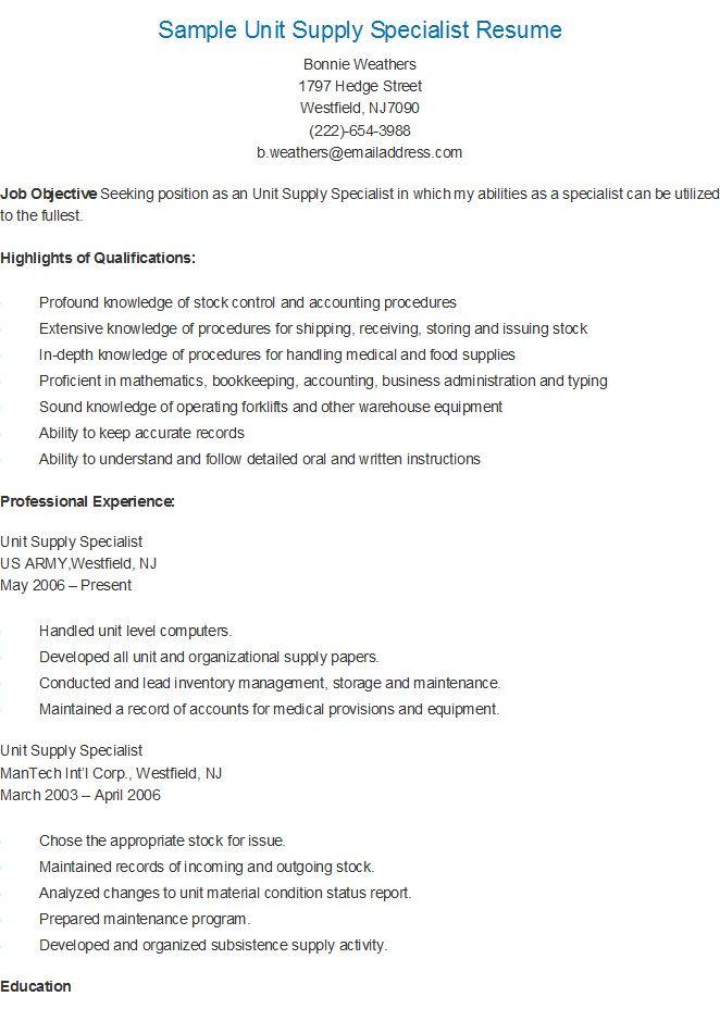 sample unit supply specialist resume - Staffing Specialist Resume