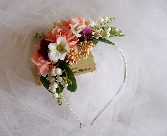 Lily Of The Valley Hair Headpiece Bridal Headband Headpiece--Lily of the Valley, Roses Floral Crown on Etsy, $19.95