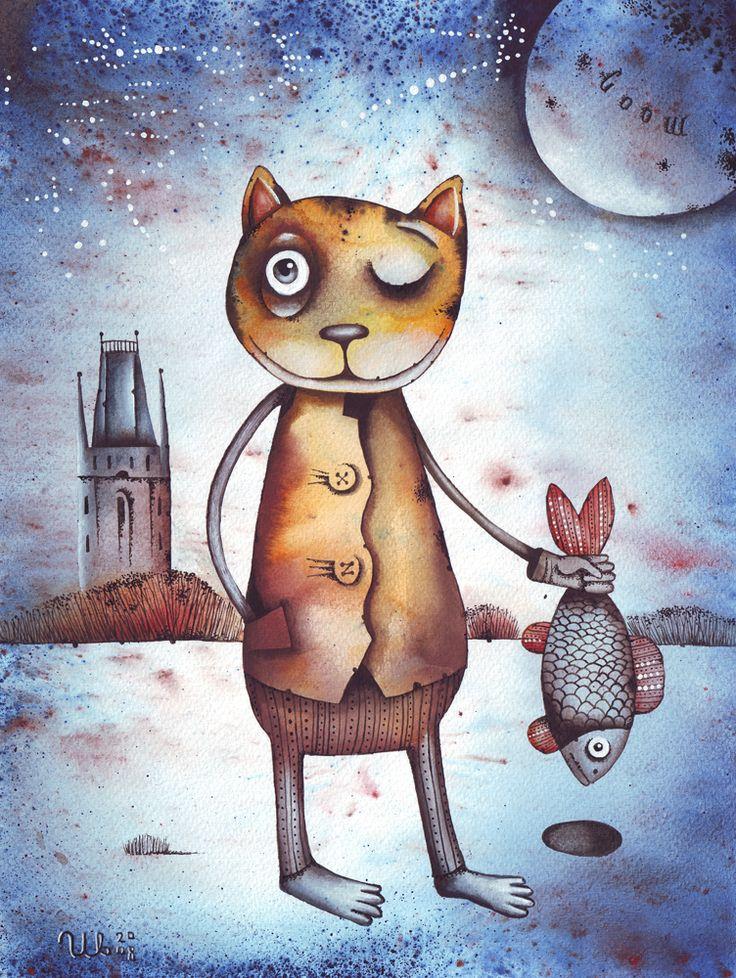 Ice fishing by Eugene Ivanov, watercolor, 2008.  #eugeneivanov #funnycats #funny #cat #@eugene_1_ivanov