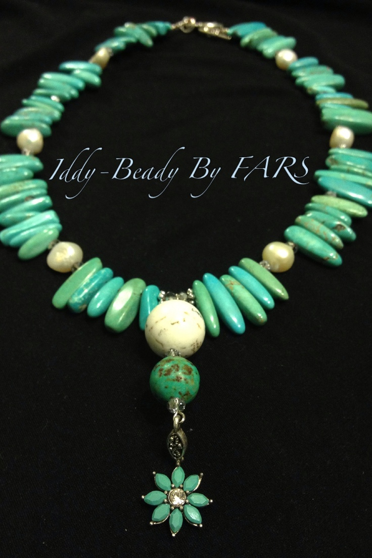 Turquoise statement necklace with Howlite & white freshwater pearls:   https://www.facebook.com/IddyBeadyByFARS