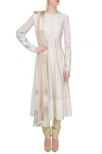 JADE BY MONICA AND KARISHMA Ivory Floral Embroidered Anarkali Set AU$805