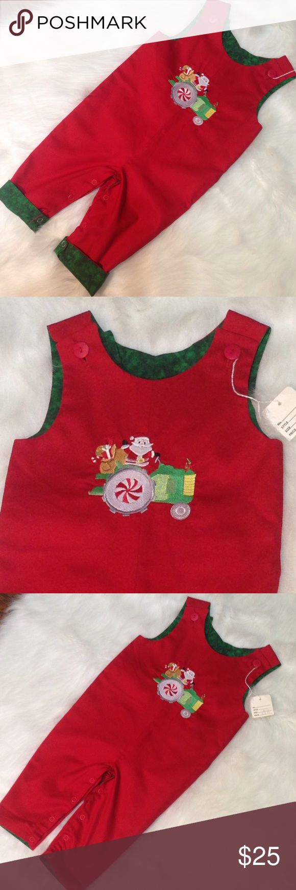 """Santa Tractor Embroidered Christmas Longall This is a precious handmade Santa on a tractor embroidered longall.  Purchased by family at a boutique for my son last year but was too short in the body for him come Christmastime.  The body length runs about the same as other 12m clothing we had, but please see measurements for correct fit!  This outfit has never been worn or washed and only has the handwritten tag from the boutique.  Length from shoulder to crotch (body length) 17"""", armpit to…"""