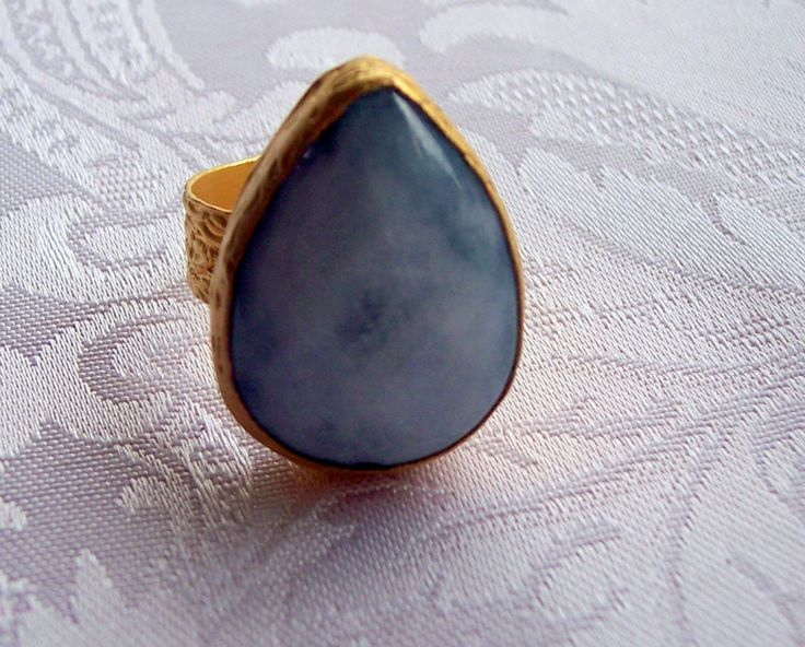 gold plated handmade ring with white-light blue teardrop agate semiprecious gemstone, jewelry and balance by GardenOfLinda on Etsy