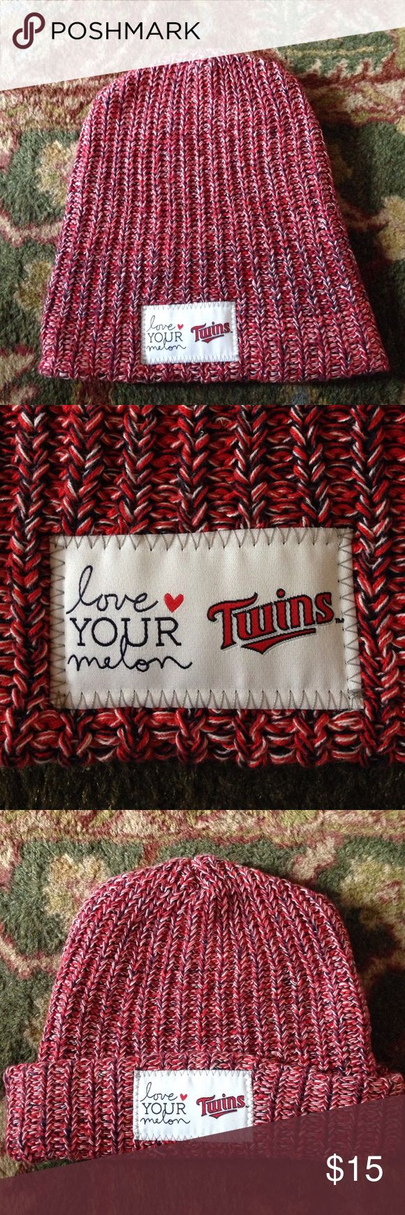 Love Your Melon special edition Twins Hat Cuffable. Red, blue, and white. One size. Special edition. Love Your Melon Accessories Hats