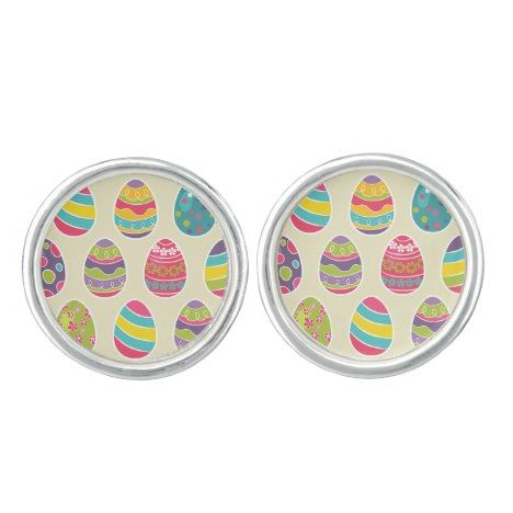 Classy Retro Easter Eggs Happy Easter Day Cufflinks #easter #accessories