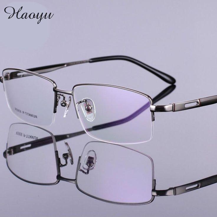 haoyu Men optical prescription Eyeglass Frames 100% Pure Titanium Eyewear Myopia hyperopia Eye Glasses frame Oculos De Sol Grau