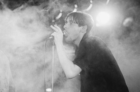 Shaun Ryder performing with the Happy Mondays at the Hacienda, Manchester,