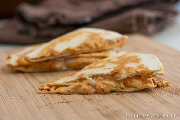 Amazing chicken Quesadillas! Spicy and creamy. I added more spices ...