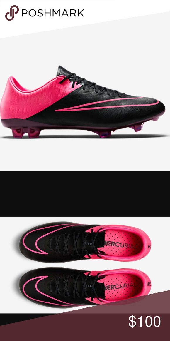 Nike mercurial vapor x Ronaldo soccer cleats boots Nike 747565-006 leather black and pink limited edition cleats size 7mens 8.5 women's like brand new worn once on turf for an hour! Nike Shoes