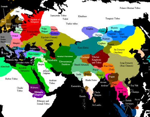 Political map of pre-Mongol Asia c.1200 AD
