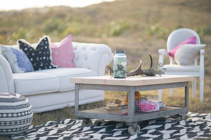 Fresh, bright outdoor intimate lounge | Featured on paperandlace.com | Vintage Furniture Hire | www.borrowandbeau.co.nz | Styling: Borrow and Beau | Photography: PoppyMoss Photography
