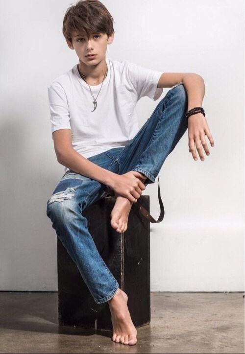 Barefoot teen boys