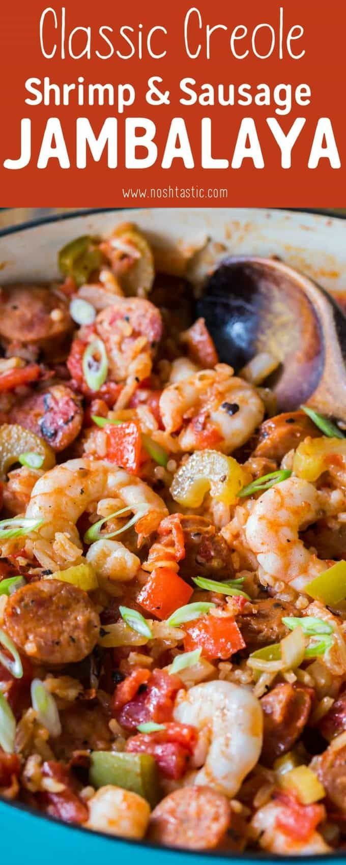 You can make this authentic homemade Creole Jambalaya Recipe really quickly on your stovetop, it's flavor packed with bell peppers, celery, onions, spices, chicken and shrimp, you'll love it! This recipe is healthy, made from scratch, gluten free and dairy free too.