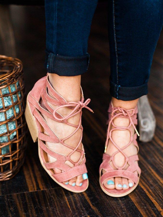 Lace Up Short Heels | 3 Colors