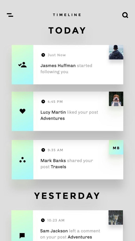 Nice alert design / timeline