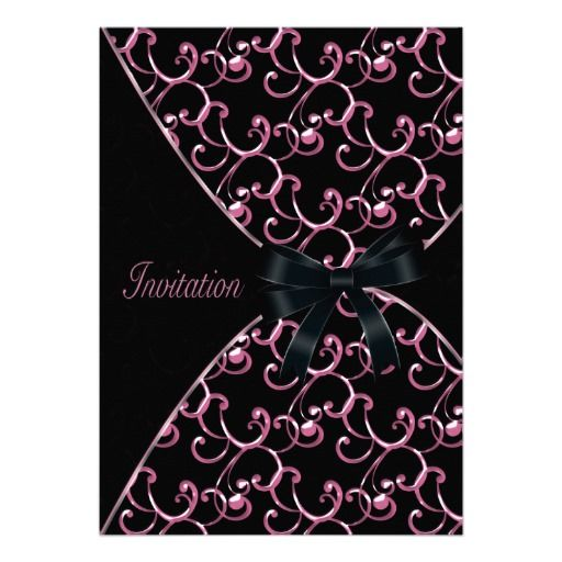 pink black swirls party invitation template lowest price