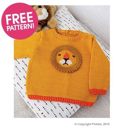 Phildar Baby Knitting Pattern Books : childs Pullover sweater with Lion Face design knitted in (made with fine...