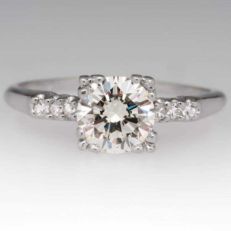 1950's Engagement Ring 1 Carat Round Brilliant Cut Diamond in Platinum