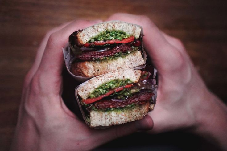 Roasted red pepper and pesto sandwich and Youtube tutorial video!