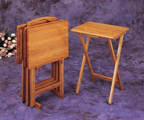 #AmericanCancerSociety 5 Pc Oak Finish Wood TV Tray Table Set With Stand,  Measures 14